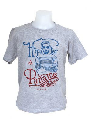 tshirt-enfant-hipster-paname-gris-reves-de-caro
