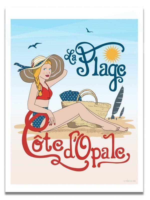 affiche-cote-opale-plage-les-reves-de-caro