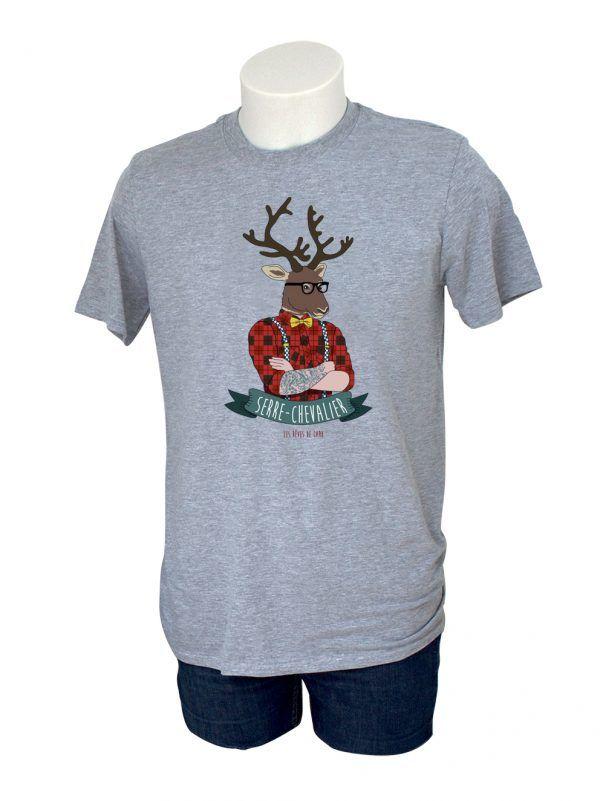 tshirt-homme-renne-montagne-alpes-gris-reves-de-caro
