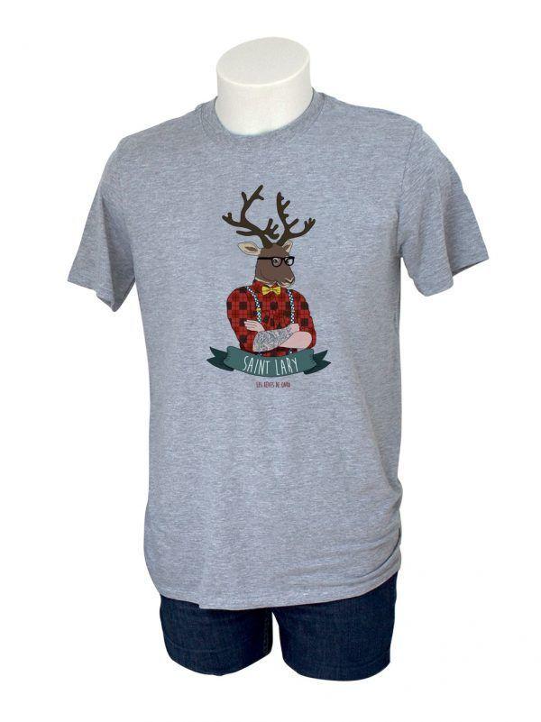 tshirt-homme-renne-montagne-gris-reves-de-caro