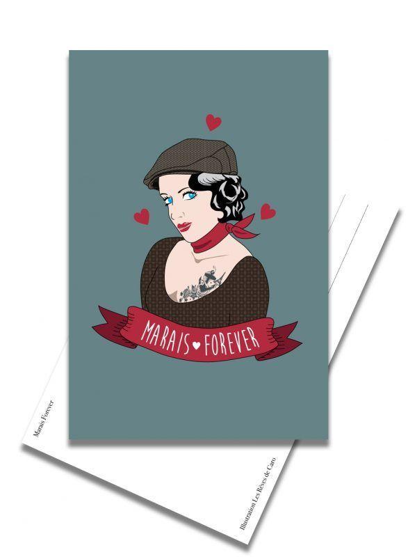carte-postale-marais-forever-femme-les-reves-de-caro