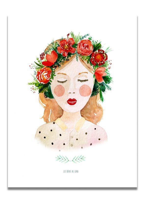 affiche-aquarelle-brune-couronne-les-reves-de-caro