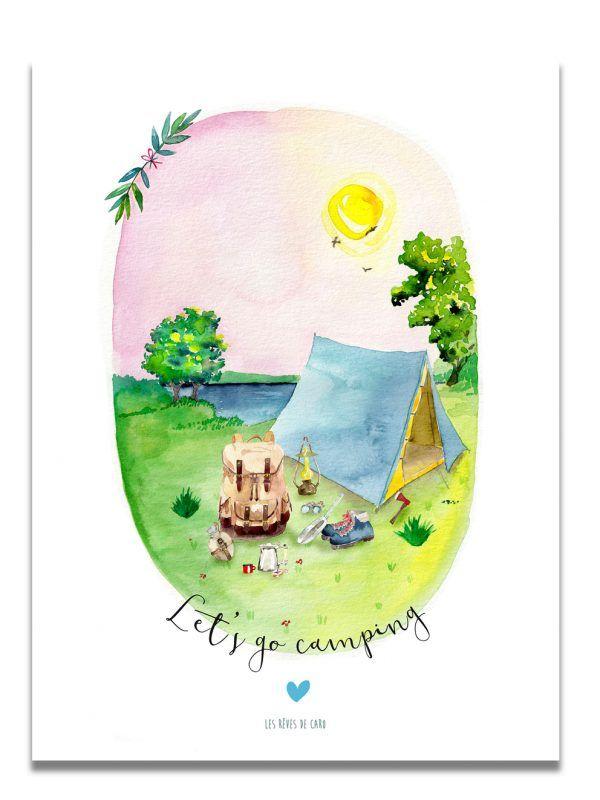 affiche-aquarelle-go-camping-deux-les-reves-de-caro