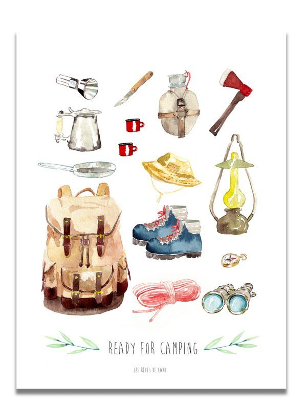 affiche-aquarelle-ready-for-camping-les-reves-de-caro