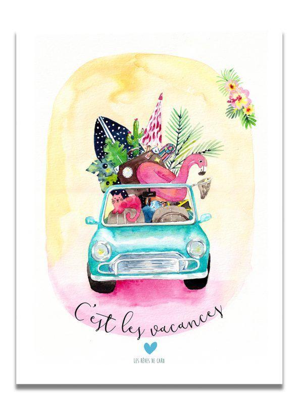 affiche-aquarelle-voiture-vacances-les-reves-de-caro
