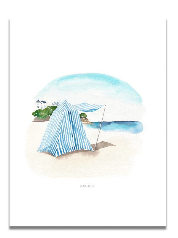 affiche-aquarelle-cabine-dinard-les-reves-de-caro