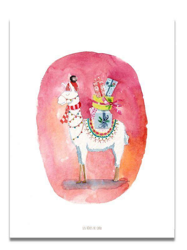affiche-aquarelle-Lama-Christmas-Mood-les-reves-de-caro