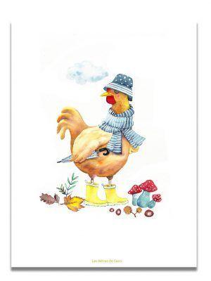 affiche-aquarelle-poule-automne-les-reves-de-caro