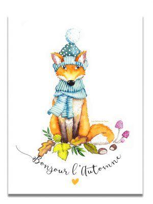 affiche-aquarelle-renard-automne-les-reves-de-caro