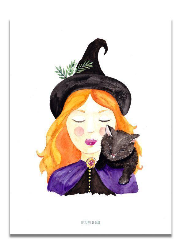 affiche-aquarelle-halloween-les-reves-de-caro