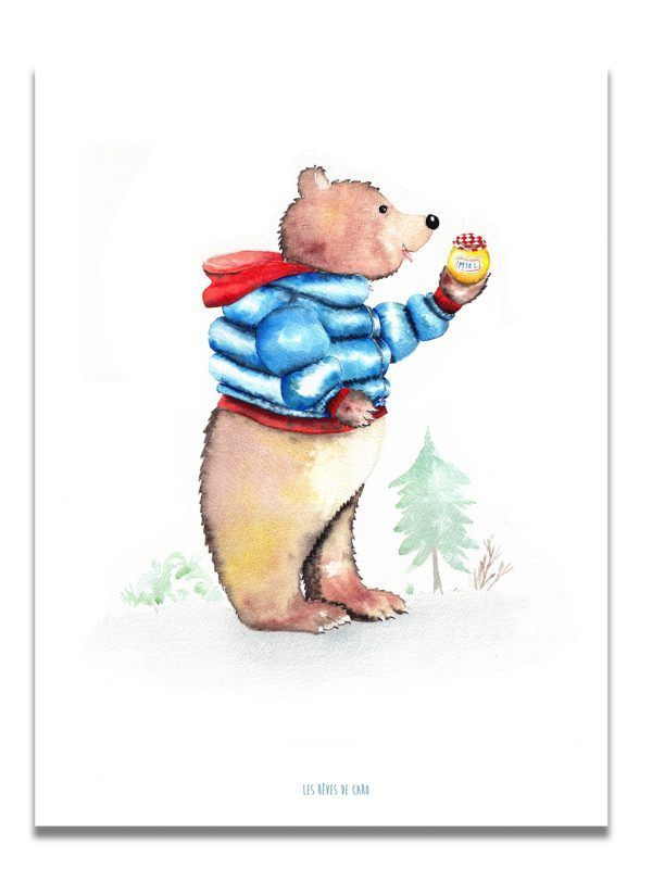affiche-aquarelle-ours-gourmand-les-reves-de-caro