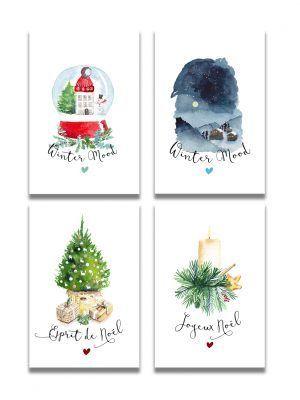 cartes-postales-noel-4-cartes-les-reves-de-caro