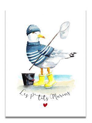 affiche-aquarelle-goeland-ptits-marins-les-reves-de-caro