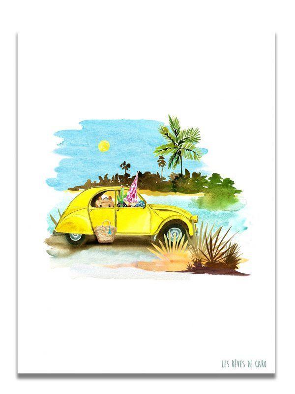 affiche-aquarelle-deuche-jaune-palmier-les-reves-de-caro