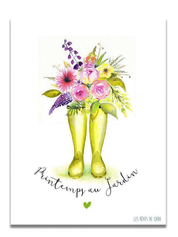 affiche-aquarelle-printemps-jardin-les-reves-de-caro