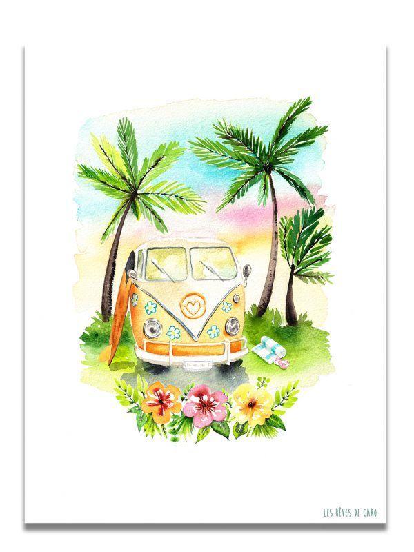 affiche-aquarelle-combi-palmier-les-reves-de-caro