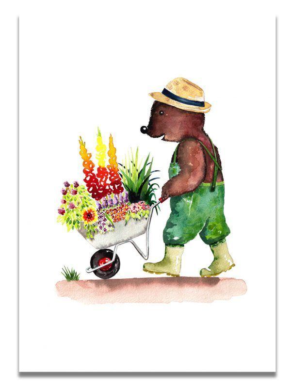 affiche-aquarelle-ours-brouette-les-reves-de-caro