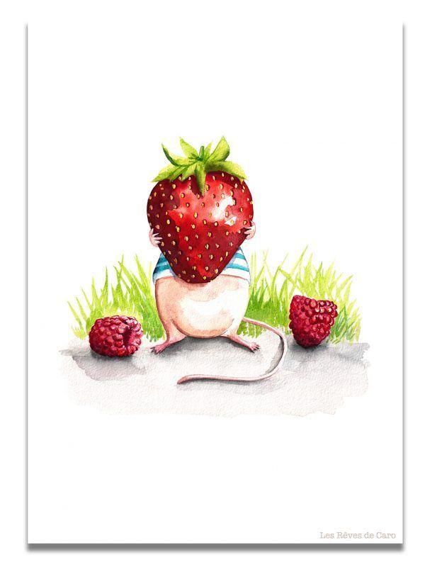 affiche-aquarelle-souris-fraise-les-reves-de-caro
