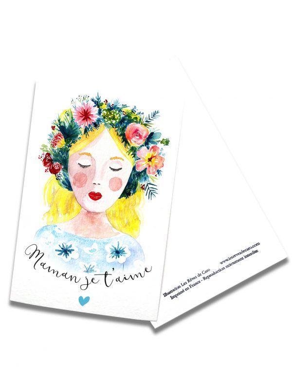 cartes-postales-fete-mere-blonde-rectoverso-les-reves-de-caro