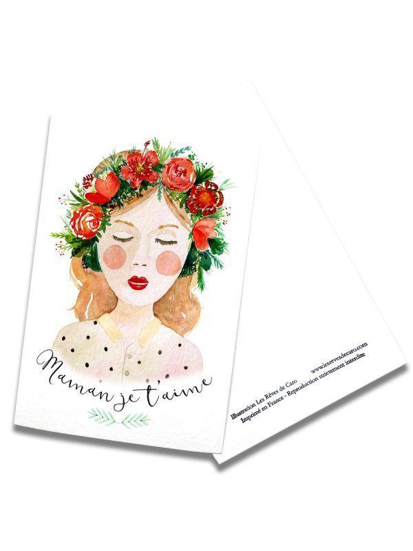 cartes-postales-fete-mere-brune-rectoverso-les-reves-de-caro