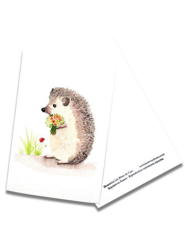 cartes-postales-herisson-rectoverso-les-reves-de-caro