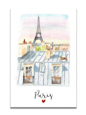 affiche-aquarelle-paris-toits-les-reves-de-caro