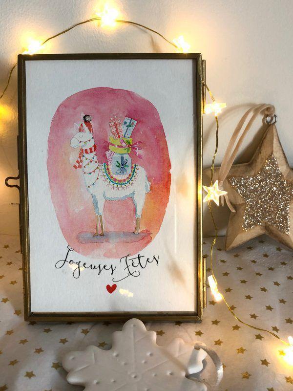 cartes-postales-joyeuses-fetes-lama-2-les-reves-de-caro