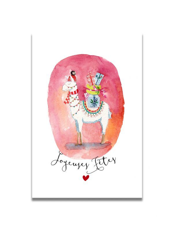 cartes-postales-joyeuses-fetes-lama-les-reves-de-caro